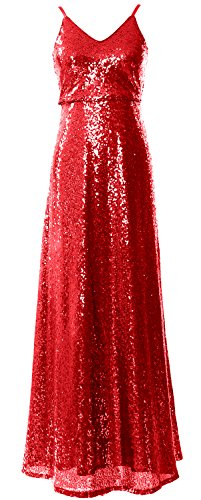 MACloth Women V Neck Sequin Long Bridesmaid Dress Cowl Back Formal Evening Gown red