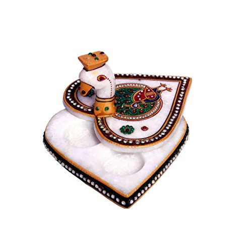 Indian Handicrafts Hand Painted Marble Chopra / Home Decor / Gift / Pooja (Heart Peacock)  available at amazon for Rs.699