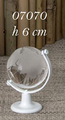 6 pezzi mappamondo globo in vetro 6 cm con base bianca bomboniera