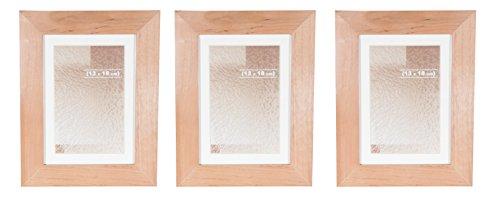 BD ART 3er set 13x18 cm HOLZ Bilderrahmen mit Passepartout 10x15 cm, BRAUN