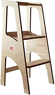 Bianconiglio Kids ® Evo 2020 all Natural Learning Tower in Legno Naturale, Regolabile con Bordi arrotondati