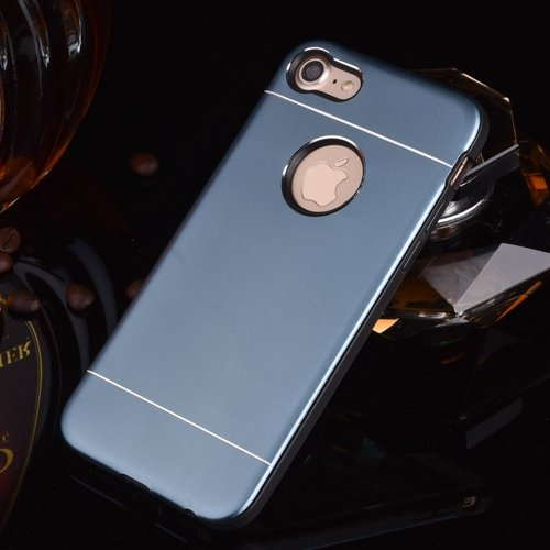 iPhone Case Cover Solid Color Line Effect Metal + Plastique Silicone Hard Cover pour Apple IPhone 7 & 7 Plus ( Color : Rose Gold , Size : IPhone 7 ) Dark Blue