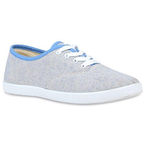 Sportliche Basic Damen Sneakers Low Blau