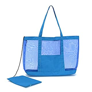 Almondcy Mesh Beach Tote Bag Stay Away From Sand for the Beach-Also good for Pool & Boating (blue)