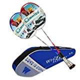 2pcs Lining Carbon Fiber Badminton Rackets High-end Racquet with Bag(Blue & Red)