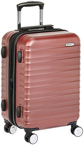 AmazonBasics - Trolley rigido Premium con rotelle pivotanti e lucchetto TSA integrato, bagaglio a mano 55cm, Rosso