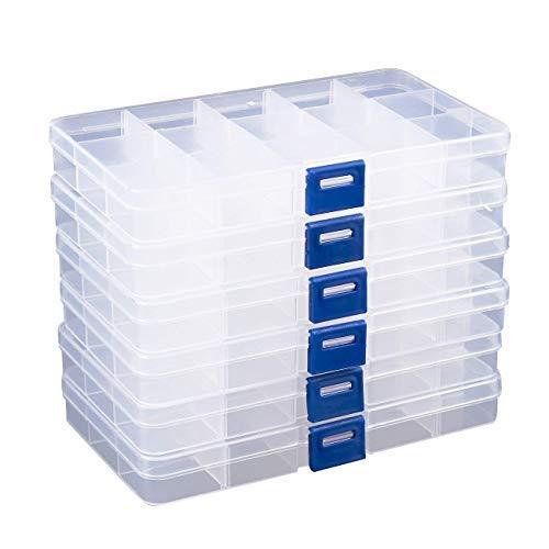 Trasparente jewelry box-contenitore 6-pack plastic bead orecchini, organizer portaoggetti con divisori regolabili, 15scomparti ciascuna, 17x 2x 10,2cm