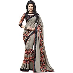 SareeShop Women's Clothing Saree Collection in Multi-Coloured Georgette Material For Women Party Wear,Wedding,Casual sarees Offer Latest Design Wear Sarees With Blouse Piece (Grey)