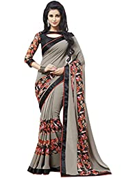 SareeShop Women's Georgette Printed Saree With Blouse Piece(GreyPrint-SAREE01_Grey_COLOUR)
