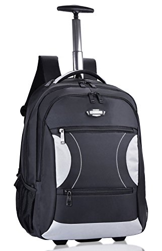 Trolley Rucksack, Coofit Laptop Trolley Schulranzen Trolley Nylon Schultrolley Business Trolley Laptop Rucksäcke mit Rollen Handgepäck Business Trolley Business Koffer (Schwarz)