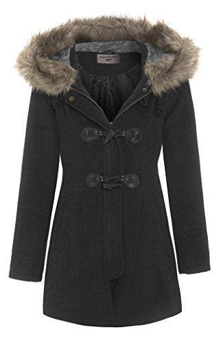 SS7 Women's Faux Fur Hood Duffle Parka Coat, Black, Navy, Size 8 ...