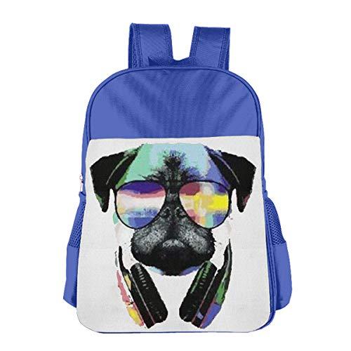 Children's School Bag DJ Pug with Sun Glasses Halloween Blue One Size