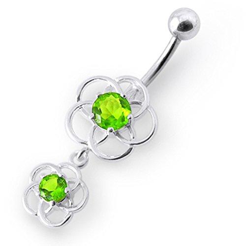 Bijou de Corps anneau de nombril en argent motif celtique pierres fantaisies pendant Light Green