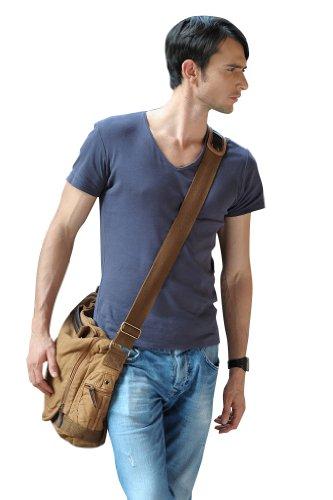 sulandy Herren-Umhängetasche aus Segeltuch, Schultasche, Kuriertasche Beige - beige