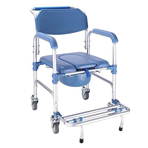 Toilettenstühle mit Rollen/Rollstuhl/Duschstuhl, ältere Menschen, 4 Bremsrollen/Aluminiumlegierung/Kissen/Spritzschutz/Eimer/Ottomane/Rückenlehne, Tragfähigkeit 150 -