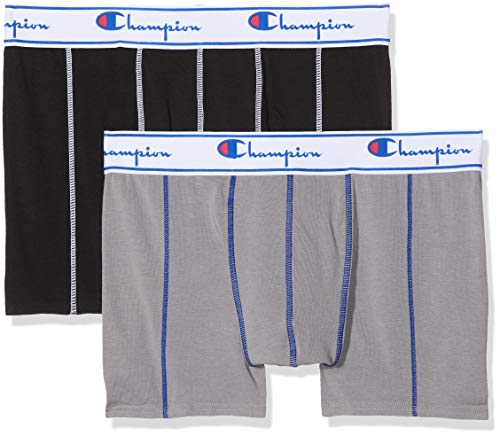 Champion Coton X2, Boxer Uomo, Multicolore (Gris/Noir 8md), Large (Taglia Produttore: 4) (Pacco da 2)