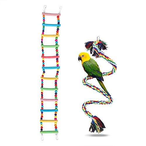 UEETEK 2 Stück Bunte Leiter Vogel Spielzeug / Set, 12-Stufen Flexible Leitern Holz Rainbow Bridge Schaukeln und 1M Seil Vogel Leiter für Papageien Pet Trainning