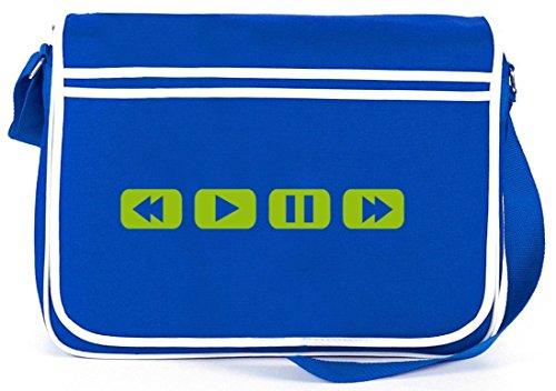 Shirtstreet24, MY CASSETTE PLAYER, Retro Messenger Bag Kuriertasche Umhängetasche Royal Blau