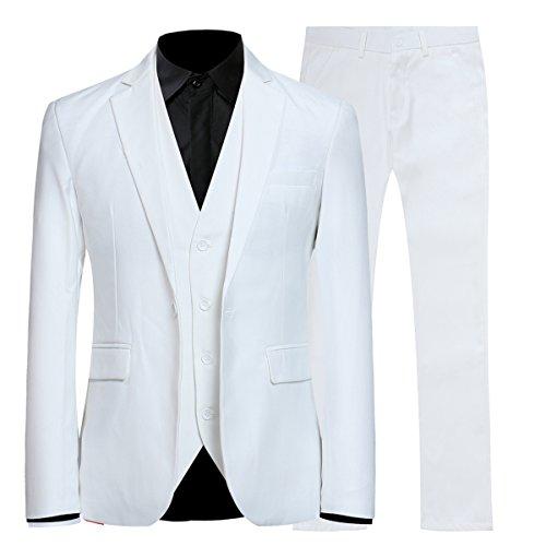 Herren 3-Teilig Slim Fit Anzug Smoking Anzugjacke Hose Weste von Allthemen weiß Medium (Weiss Anzug Herren)
