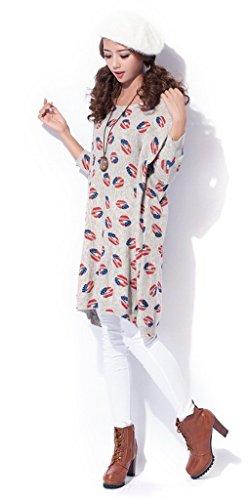 Bigood Sweat-shirt Femme Tricot Pull Imprimé Motif Lèvre Grande Taille Col Rond Manche Longue Gris