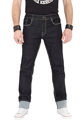 Robins Männer Jeans (KING KEROSIN Regular Fit Jeans in Rinse Wash mit Kontraststepps Robin Robin Herren Regular Fit KK1001021)
