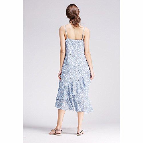 Dreamworldeu - Robe - Relaxed - À Fleurs - Sans Manche - Femme Bleu