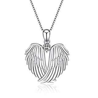 Guardian Angel Wings Necklace Sterling Silver Pendant with Sparkle Cubic Zirconia Jewellery For Women Girls