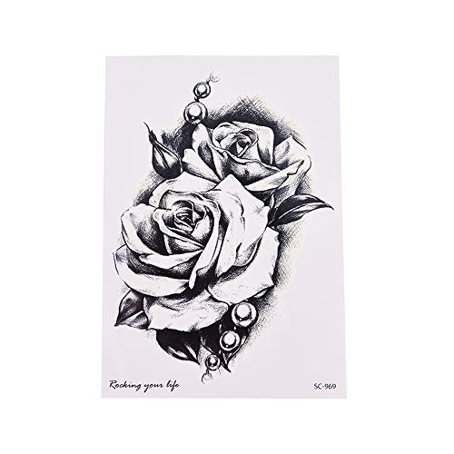 YANGQIN Tattoo Aufkleber Rose Applique Tattoo Wassertransfer Wasserdicht Temporäre Tätowierung Aufkleber Für Frauen Body Beauty Make-Up -