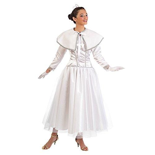 Engel Prinzessin Weihnachten Kostüm Damen Kleid mit Cape weiß - (Weißen Disco Männer Kostüme Anzug)