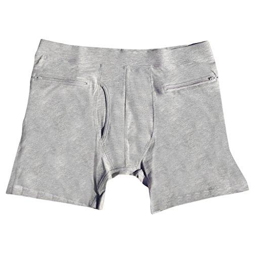 Clever Travel Companion Herren Boxershorts Taschendieb Sicher mit Geheimtaschen - Verschiedene Farben Alle Grš§en grau - grau