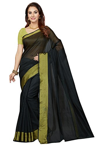 Ishin Poly Silk Black Party Wear Wedding Wear casual Daily Wear Festive Wear Bollywood New Collection Woven with Zari Border Latest Design Trendy Women's Saree/Sari  available at amazon for Rs.399