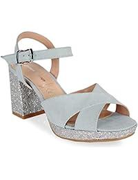 0d9a45e275d71 Amazon.es  sandalias tacon azul cielo - 38   Zapatos de tacón ...