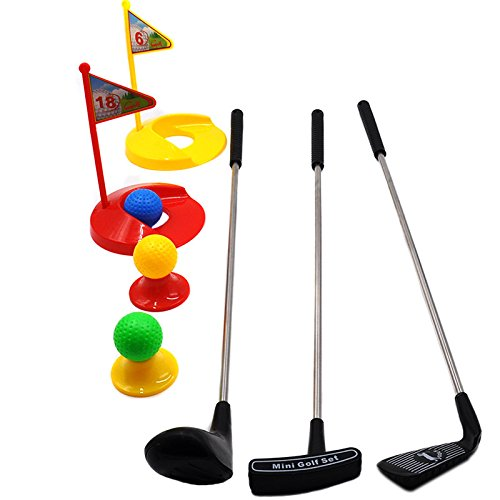 Amandy 3pcs Kids Club Set Garten Kunststoff Golf Set Kinder Outdoor Fun Backyard Sport Eltern-Kind-Spielzeug