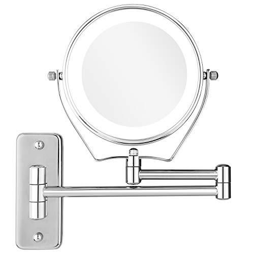 BATHWA Wandmontage Zweiseitig LED Beleuchteter Kosmetikspiegel, Doppelseite 360° Schwenkbar und Vertikal, 1x/7xFach Vergrößerungsspiegel + Gewöhnlicher Planspiegel, Metall verchromt