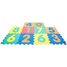 Mamababy Alfombra Puzzle 123, números desmontables, esteras de 32x32 cm, 10 piezas (Mamatoy MMA36000)