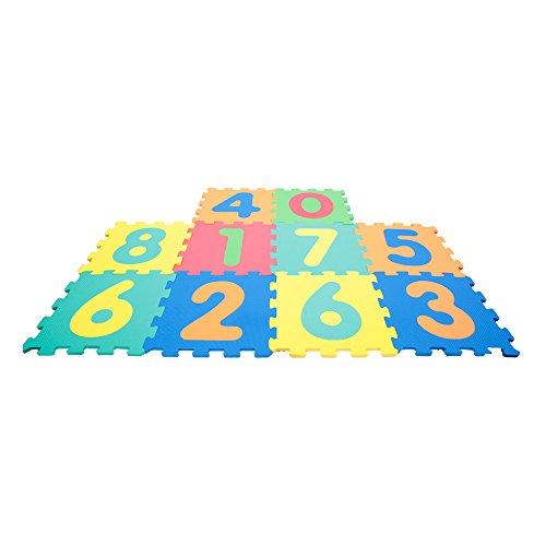 Alfombra Puzle 123, números desmontables, esteras de 32x32 cm, 10 pie