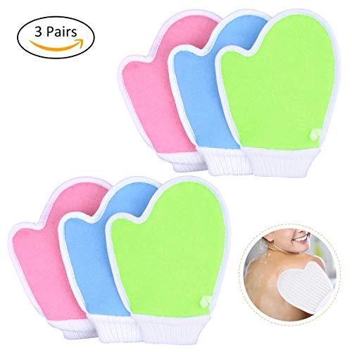 OZUAR 6 Stück Natürlicher Sisal Peelinghandschuh Peeling Handschuh - Tiefreinigung und Peeling Massagehandschuh für Frauen Kind Männer Blau Rosa Weiß Grün Zufällige Farbe 21 * 16 * 0,2 cm (3 Paar) -