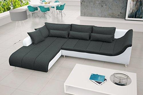 Furnistad - Modernes Ecksofa LILLY - Eckcouch - Inklusive Kissen - L-Form Sofa Couch - Wohnlandschaft - Kostenfreie Lieferung (Schwarz, Option links)