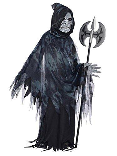 Jungen Dunkel unheimlich gruselig Seelennehmer 4 Stück Sensenmann Halloween Kostüm Kleid Outfit 6-8 Jahre