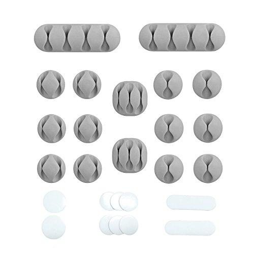 Kabelhalter - kabelclips mit Acryl selbstklebende Rückseite, Rückstandsfreie Kabel Management System, 16 Stück Grau (10 Stück Ersatz Acryl Klebepads)