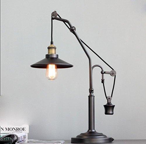 Amerikanische Land Eisen Riemenscheibe Tisch Studie Lampen Retro kreative Schlafzimmer Nachttisch Lampe Dekoration Schreibtisch