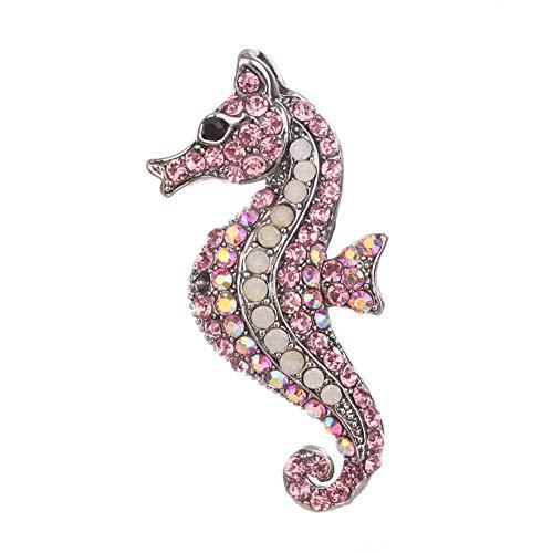 Zentto Kristalle Brosche für Damen Frauen Legierungs Diamant bestückte nett Tier Kristall Brosche Vintage Strass Kristall Libelle Brosche Pin Tier Brosche Pins Schmuck-Seepferdchen