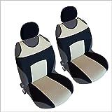 CSC303 -Funda para asiento de coche con forma de camiseta, Cojín para asiento de coche, Funda Cubierta Protector Asiento de coche, respaldo asiento Negro/Beige (1 par)