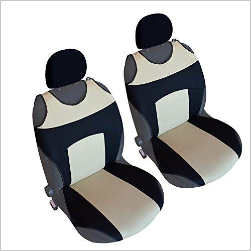 CSC303 - Couvre Siège pour Voiture T Shirt, housse de siège auto Protecteur de siège, coussin cover auto, Retour Coussin Noir/Beige (1 paire)