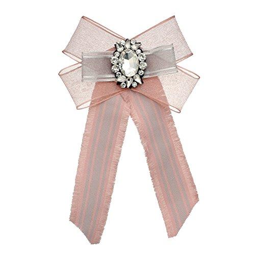 Parkho Premium Big Diamant Bohemian Schleife Spitze Brosche vorgebundene Fliege Krawatte Fliege rose