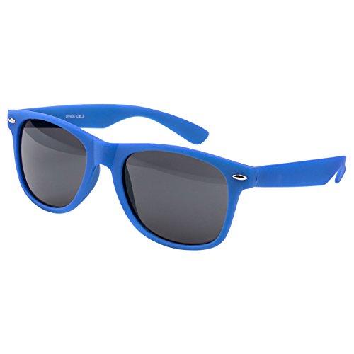 Ciffre Nerdbrille Sonnenbrille Stil Brille Pilotenbrille Vintage Look Blau Matt gummiert NRBB
