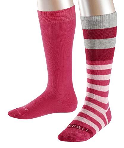 ESPRIT Kinder Kniestrümpfe Block Stripe 2-Pack, 82% Baumwolle, 2 Paar, Rosa (Pink 8589), Größe: 31-34