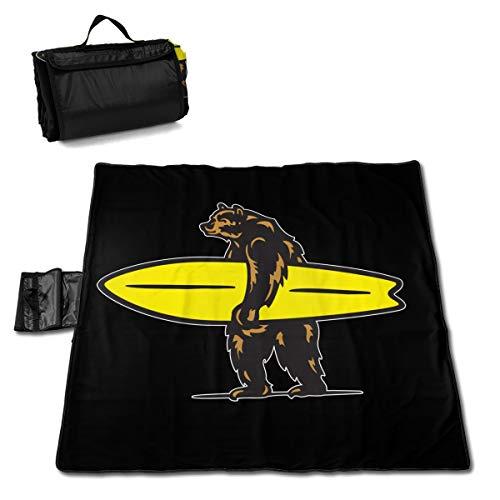 SBD14ZZU California Surf Bear Picknick-Matte 144,8 x 152,4 cm Outdoor Picknickdecke für Familie, Camping, Konzert, drinnen und draußen