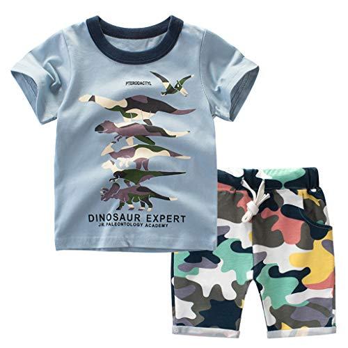 TTLOVE  Mode Jungen Kleidung,Kleinkind Kinder Baby Outfits Set Cartoon Drucken Tops T Shirt+Shorts Sommer Bekleidung Kinderkleidung Freizeit KostüM (Blau,140 cm,6-7 Jahre)