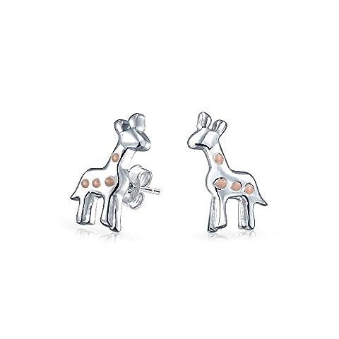 Brink émail Rose 925 Sterling Silver Stud Earrings filles girafe